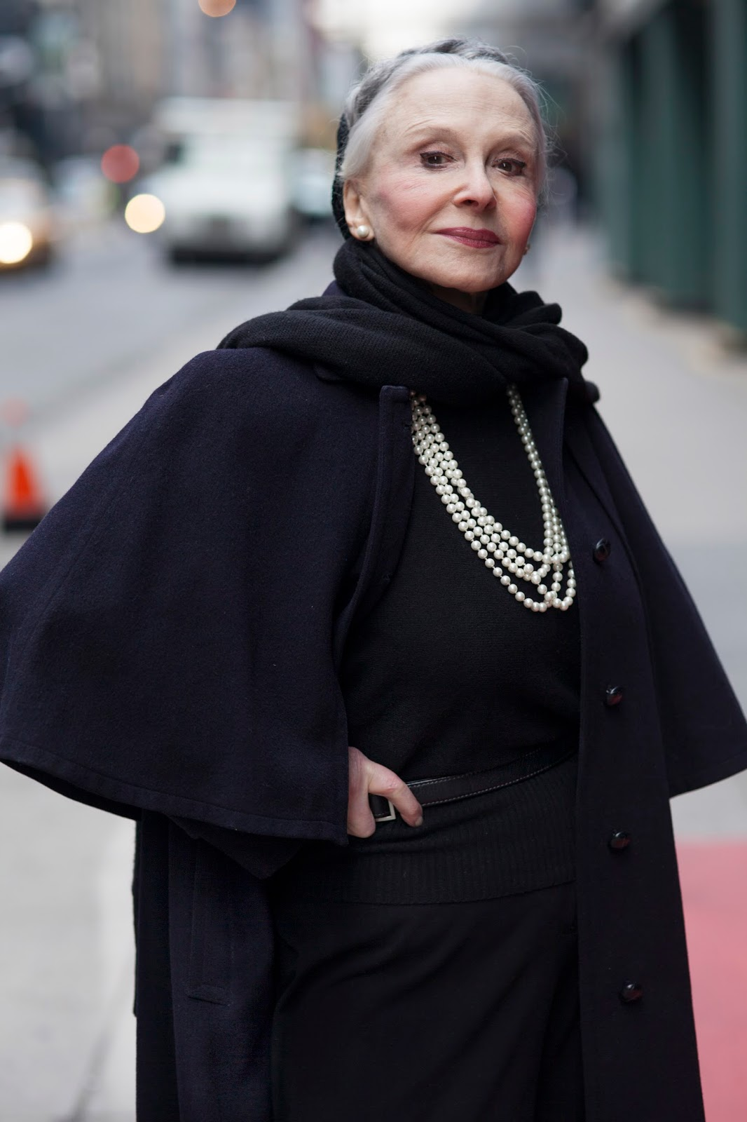 Cape Coat and Pearls